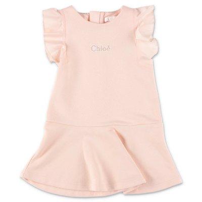 Chloé abito rosa cipria in felpa di cotone