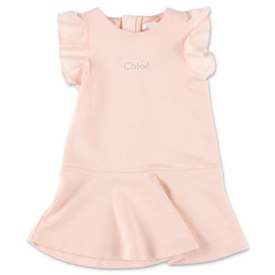 Chloé powder pink cotton sweatshirt dress