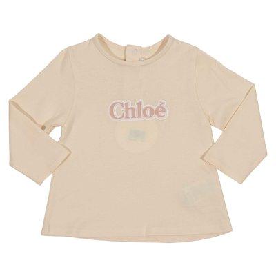 T-shirt rosa cipria in jersey di cotone con dettaglio logo