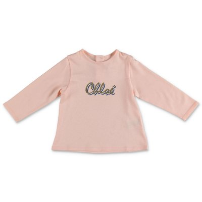 Chloé logo pink powder cotton jersey t-shirt