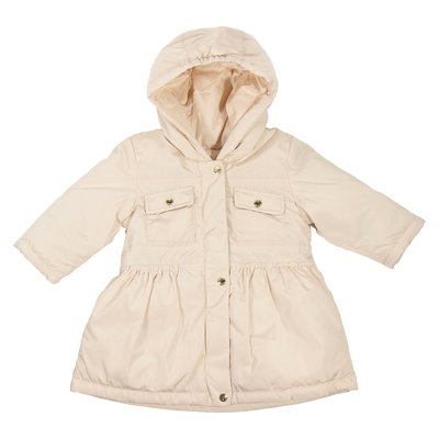 Powder pink nylon hooded parka