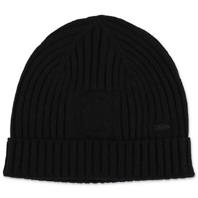 Chloé black wool blend knit cap