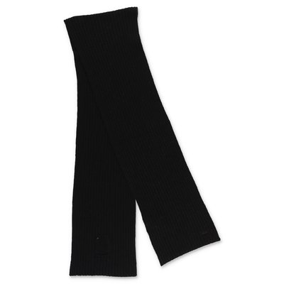Chloé sciarpa nera in maglia di misto lana
