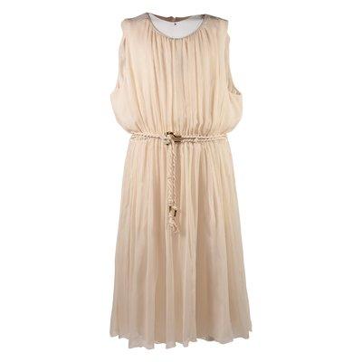 Powder pink crisp silk dress