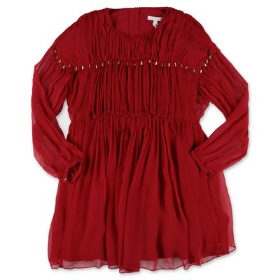 Chloé red crepe silk dress