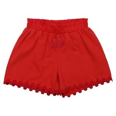 Strawberry red cotton shorts