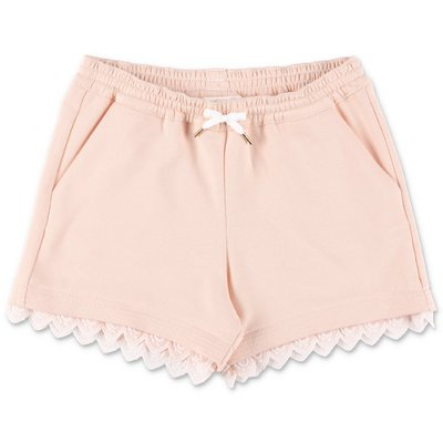 Chloé powder pink cotton sweat shorts