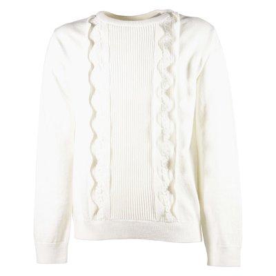 Pullover bianco in cotone misto lana