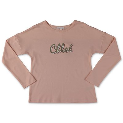Chloé logo powder pink cotton jersey t-shirt