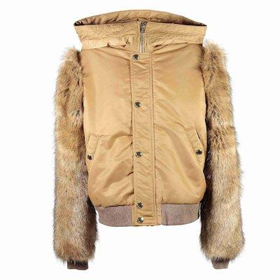 beige faux fur sleeve jacket