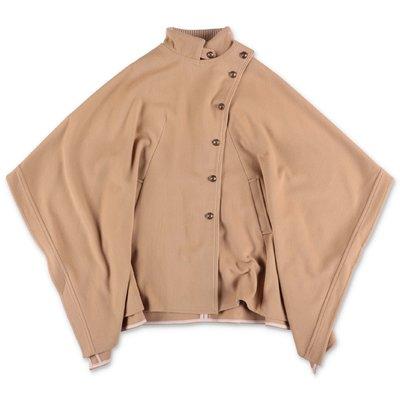 Chloé mantella beige in panno di lana e cashmere