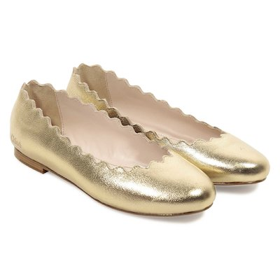 Golden metallic leather Lauren ballerinas