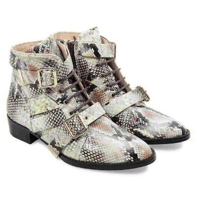 Python skin print leather boots