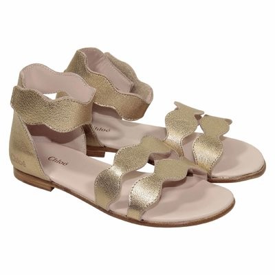 Golden Iconic wavy motif leather sandals