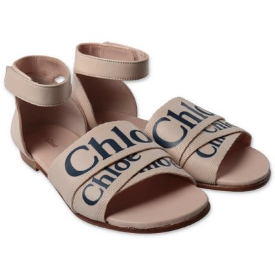 Chloé pink leather sandals with logo
