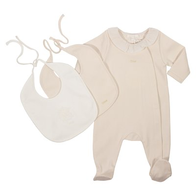 Pink cotton romper and two bibs set