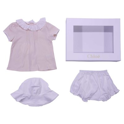 Powder pink cotton blouse with white hat and diaper cover