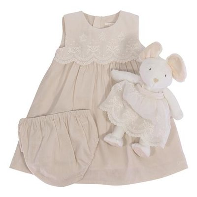 Powder pink linen cotton dress, coulotte and doudou set