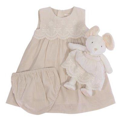 Set regalo rosa cipria in lino e cotone con abito, coulotte e doudou