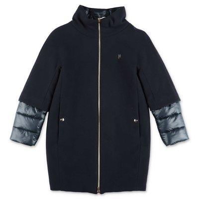 HERNO deep blue wool blend coat
