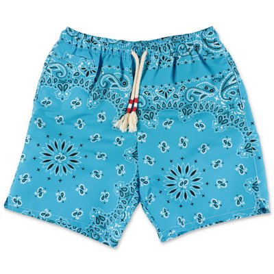 MC2 Saint Barth costume shorts da mare azzurro stampa paisley in nylon riciclato