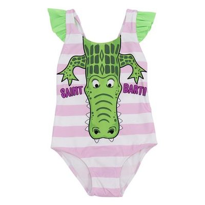 Pink and white striped crocodile print lycra one piece swimsuit