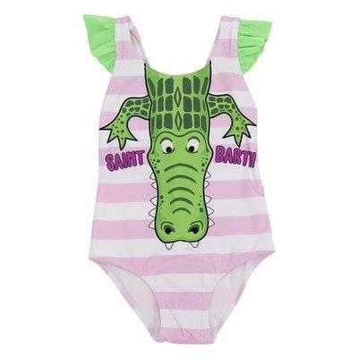 MC2 Saint Barth pink and white striped crocodile print lycra one piece swimsuit