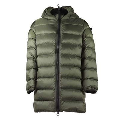 Military green down jacket with hood