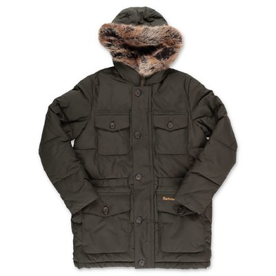 Barbour military green nylon Morton down jacket with hood