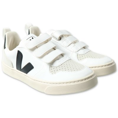 Veja white faux leather sneakers with logo detail