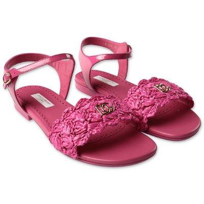 Dolce & Gabbana sandali fucsia in pelle con dettaglio logo