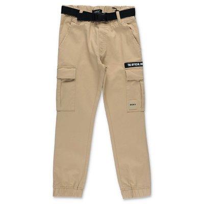 DKNY pantaloni beige in gabardina di cotone