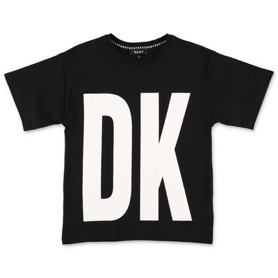 DKNY t-shirt nera in jersey di cotone