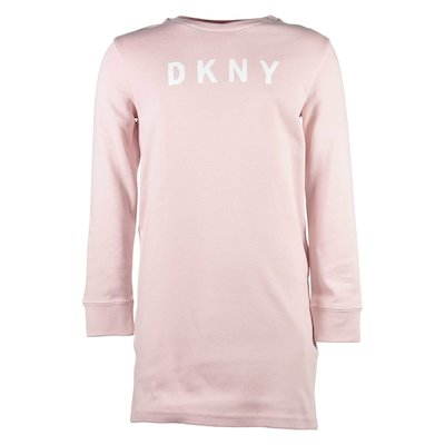 Pink logo cotton sweatshirt dress