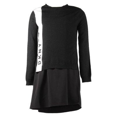 Black viscose blend two piece set with jumper & dress