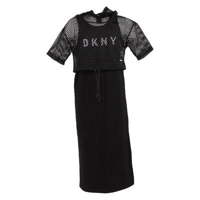 Set nero con top in rete e abito in jersey di cotone