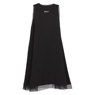Black logo detail viscose dress