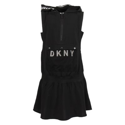 Black logo detail techno fabric dress with hood