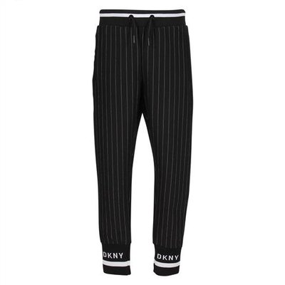 DKNY black striped techno fabric pants