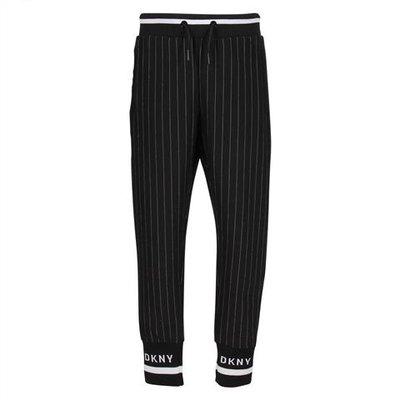 Pantaloni neri a righe in techno tessuto