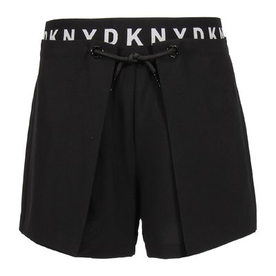 Shorts neri in triacetato con logo