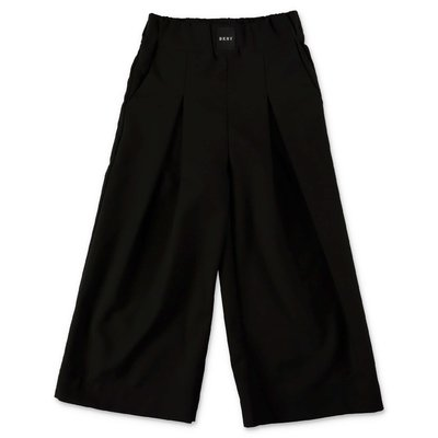 DKNY black techno fabric wide pants