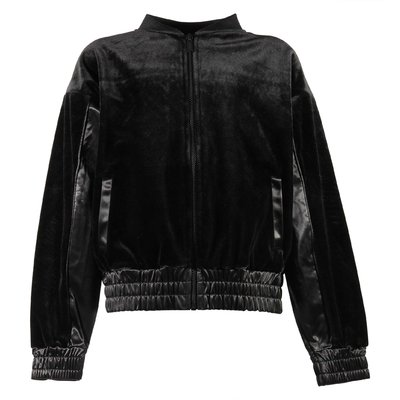 Black chenille zip-up jacket