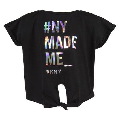 T-shirt nera con logo in jersey di cotone