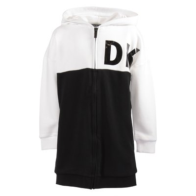 DKNY black and white cotton blend zip-up sweatshirt dress with hood