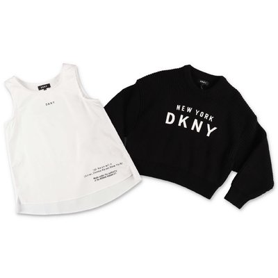 DKNY two piece set with black cotton blend knit jumper & white cotton tank top