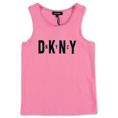 DKNY pink cotton jersey tank top
