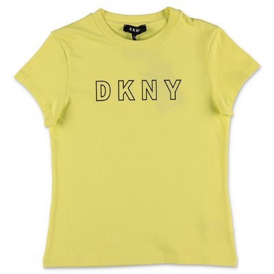 DKNY yellow organic cotton jersey t-shirt