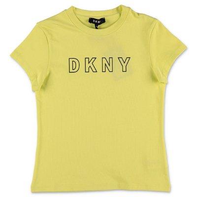 DKNY t-shirt gialla in jersey di cotone organico