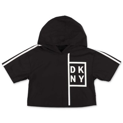 DKNY top nero in nylon con cappuccio